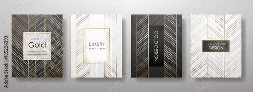 Fotografia  Gold lines template set, artistic covers design, colorful texture,realistic fluid backgrounds