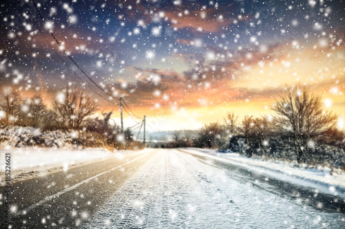 Recess Fitting Blue sky winter road background of free space for your text