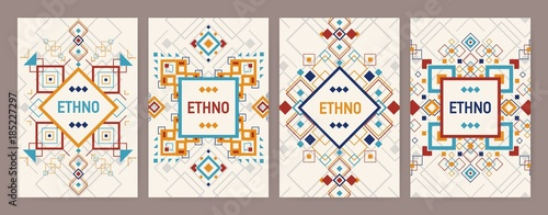 Photo Collection of vertical backgrounds with traditional Aztec ornament or decorative border