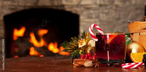 Mulled wine near the fireplace