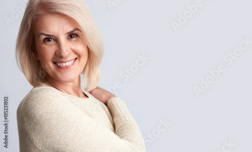 Smiling old woman. anti aging concept Canvas Print