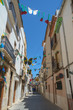Benissa, Costa Blanca, a typical narrow town centre street, Spain.