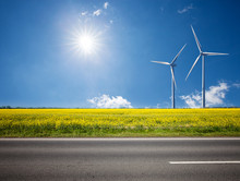 Asphalt Road Among The Summer Sunny Field With Wind Power Electricity Turbines