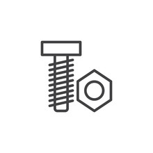 Nut And Bolt Line Icon, Outlin...