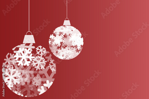 Fondo rojo navideño con bolas de copos de nieve. Wallpaper Mural