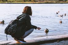 Young Girl Feeding The Ducks O...