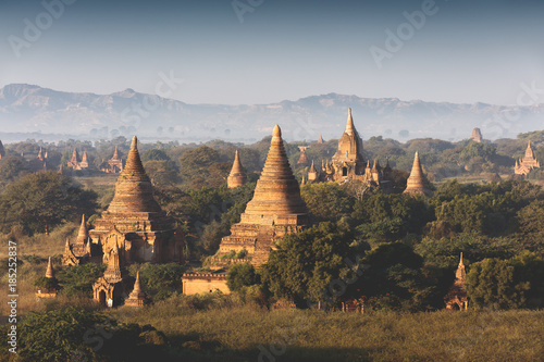 Landscape view with old temples Bagan Myanmar Poster