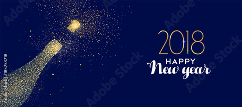 Fotografie, Obraz  Happy New Year 2018 gold glitter champagne bottle