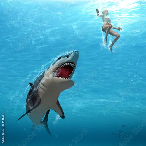 Great White Shark Attacks Female Swimmer Poster Mural XXL