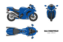Blue Motorcycle In Realistic S...