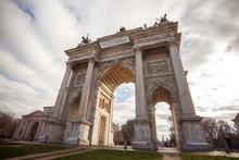 Historical Marble Arch Arco Della Pace, Sempione Square, Milan, Lombardy, Italy