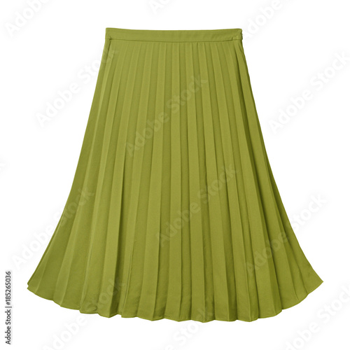 Chartreuse green pleated midi skirt isolated on white Wall mural