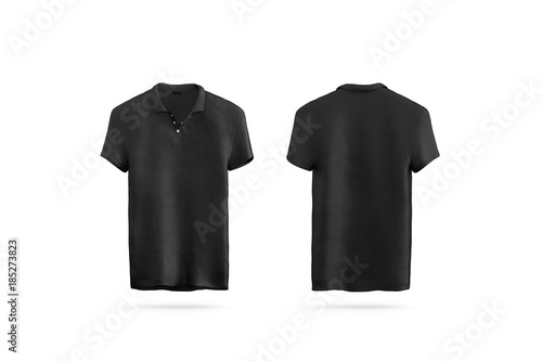 Blank black polo shirt mock up isolated, front and back side view ...
