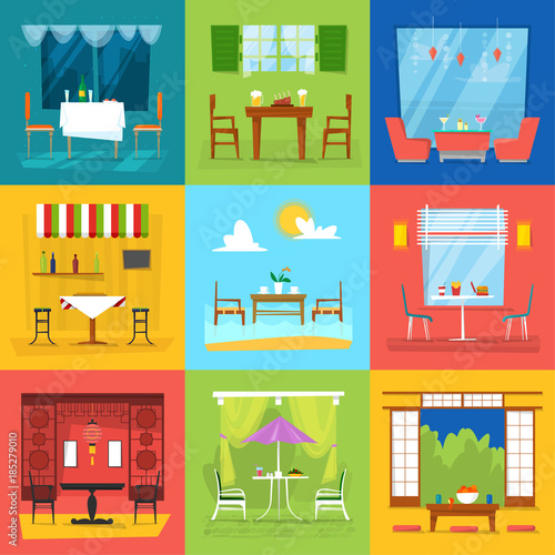 Poster de jardin Route Restaurant interior vector cafe decor dining furniture table and chair for romantic lunch dinner in cafeteria club bar or pub set illustration isolated on background