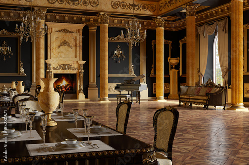 Fotomural banquet hall in the classical style. 3d render