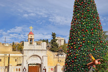 Greek Orthodox Church Of The Annunciation And Christmas Tree In Nazareth, Israel