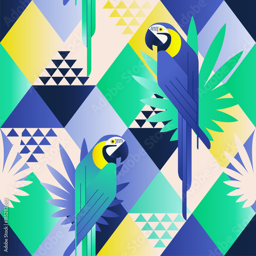 Exotic beach trendy seamless pattern, patchwork illustrated floral vector tropical leaves. Jungle blue parrots. Wallpaper print background mosaic.