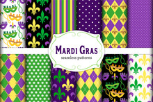 Cute Set Of 12 Seamless Mardi Gras Patterns In Traditional Colors