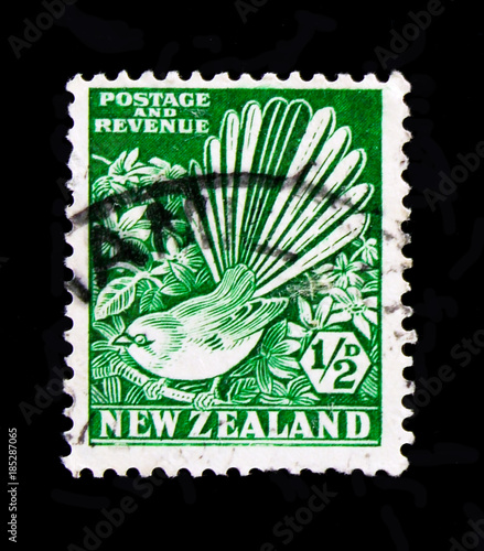 Tela  MOSCOW, RUSSIA - OCTOBER 3, 2017: A stamp printed in New Zealand shows Fantail (