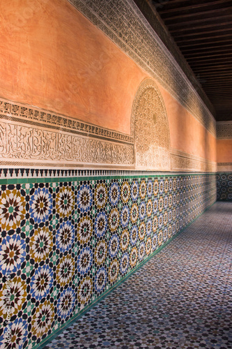 Poster Maroc tile wall in Ben Youssef Madrasa