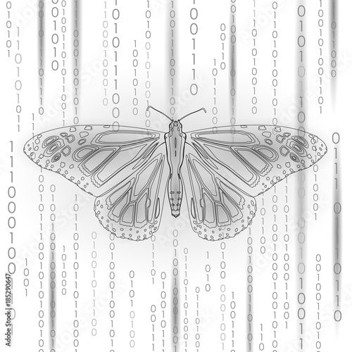 Technology nature concept. Binary code butterfly life ecology innovation inspiration computer digital abstract geometric gray white vector illustration