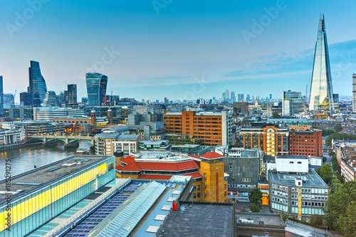 Obraz na plátne Amazing Sunset panorama from Tate modern Gallery to city of London, England, Gre