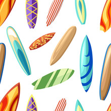 Seamless Pattern With Different Colorful Surfboards Cartoon Style Vector Illustration On White Background Website Page And Mobile App Design