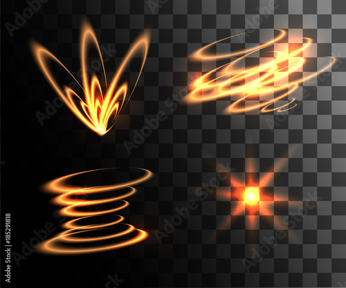 Photo Set of golden vector light effects glowing light rings with particles decoration