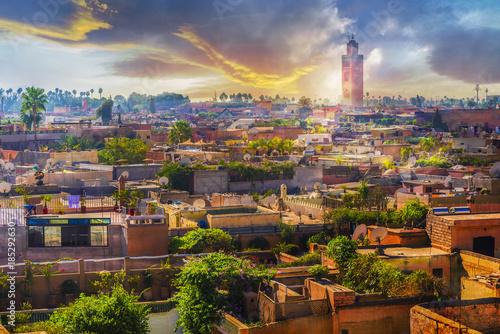 Foto op Canvas Marokko Panoramic views of marrakech medina, Morocoo