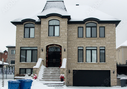 Expensive house in snow, Montreal, Canada