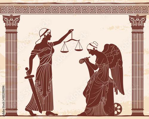 Photo  Ancient Greek goddess Themis holds a sword and scales in her hands and Nemesis with the wings