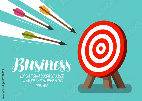 Cuadros en Lienzo Target and flying arrows. Business concept. Vector illustration