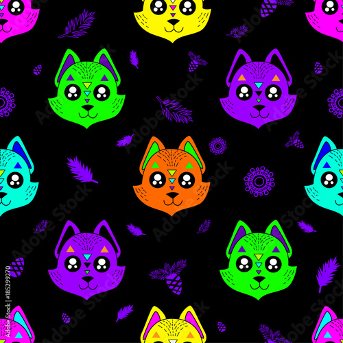 Canvas Prints Fairytale World Cute kids fox pattern for girls and boys. Colorful fox on the abstract background create a fun cartoon drawing. The fox background is made in pastel colors. Urban pattern for textile and fabric.