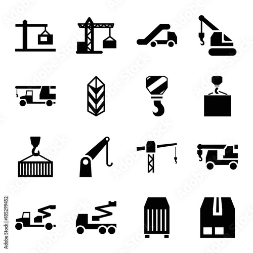 Платно Set of 16 crane filled icons