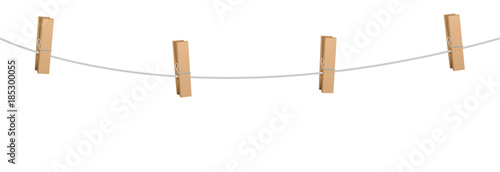 Clothes pins on a clothes line rope  - four wooden pegs holding nothing Wallpaper Mural