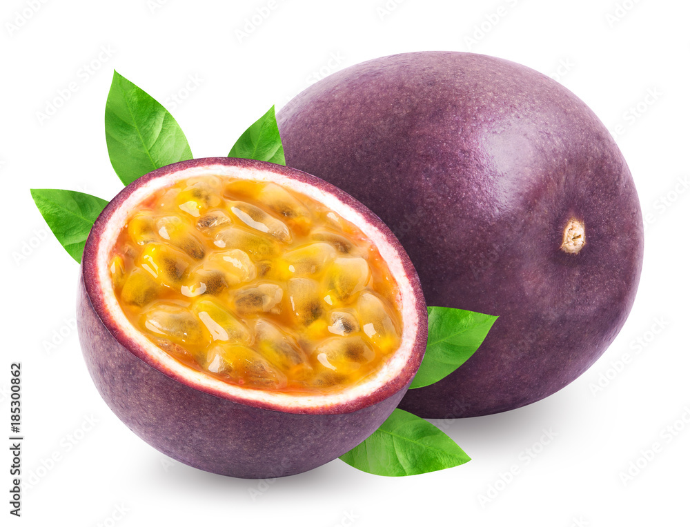Fototapeta Passion fruit with leaves isolated