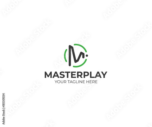 letter m play symbol logo template play button vector design play