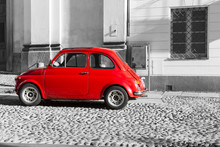 Red Vintage Italian Car On Black And White Background