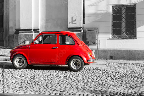 Poster Vintage cars Red vintage italian car on black and white background