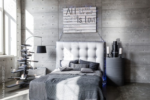 Modern Empty Bedroom In Loft Style With Grey Colors And Wooden Hand Made Christmas Tree With Presents Buy This Stock Photo And Explore Similar Images At Adobe Stock Adobe Stock