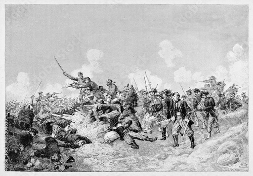 Ancient soldiers fighting on battlefield using swords and bayonets