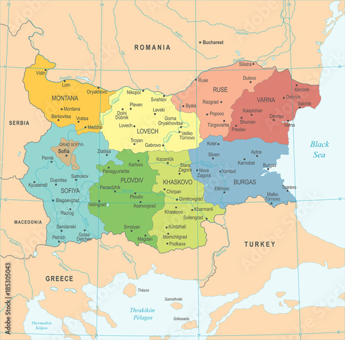Photo Bulgaria Map - Detailed Vector Illustration