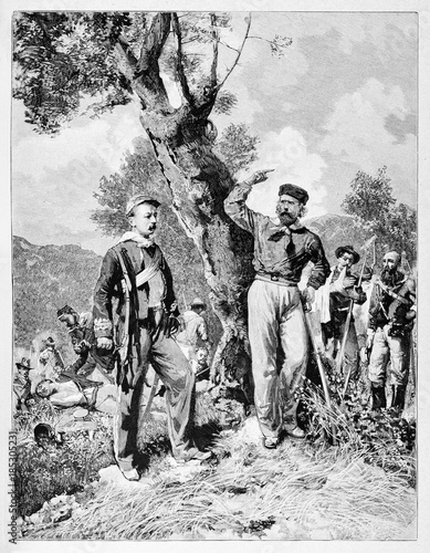 Fotografie, Obraz  Garibaldi talks to Nino Bixio in Calatafimi Sicily under a tree