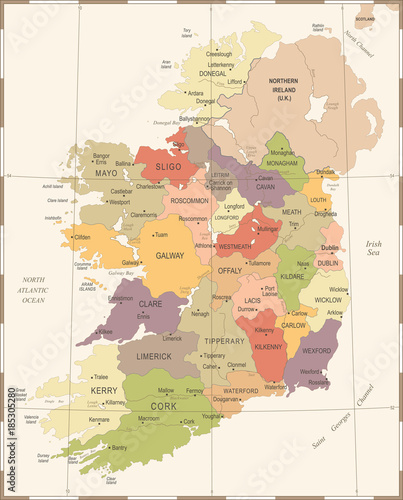 Cuadros en Lienzo Ireland Map - Vintage Detailed Vector Illustration
