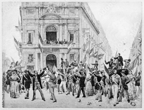 croud of ancient people greets garibaldi entering on a large square