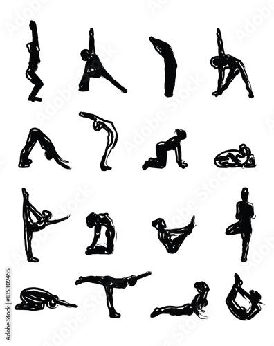 Fototapeta Sketch Yoga Silhouettes in Asanas