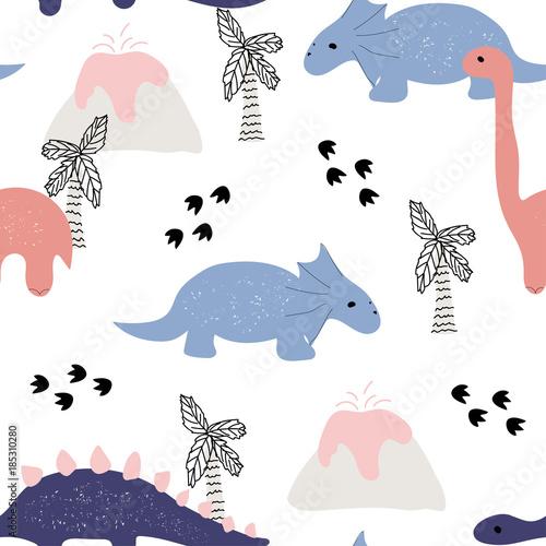 ladny-wzor-z-dinozaurami-wektorowa-reka-rysujaca-ilustracja