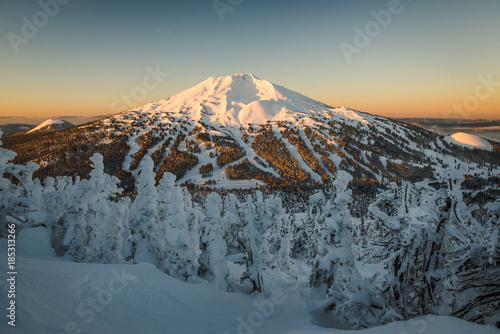 The snow covered Cascade Mountains and frozen trees at sunrise in winter Canvas Print