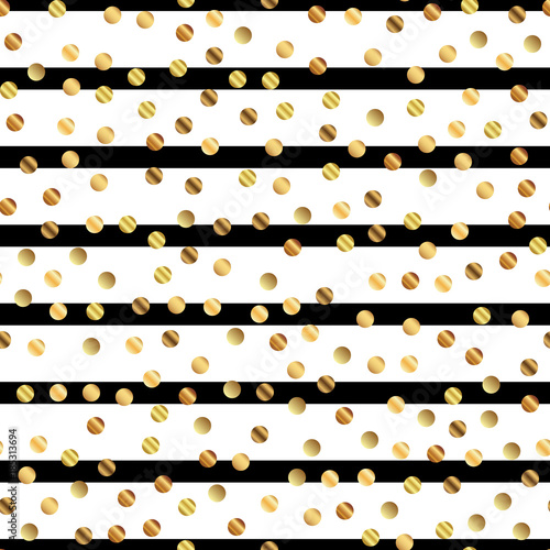 Golden Dots Seamless Pattern On Black And White Striped Background Adorable Gradient Golden Dots Endless Random Scattered Confetti On Black And White Striped Background Confetti Fall Chaotic Decor Buy This Stock
