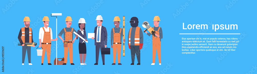 Fototapeta Costruction Workers Team Industrial Technicians Mix Race Man And Woman Builders Group Horizontal Banner Flat Vector Illustration